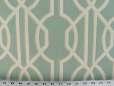 Drapery Upholstery Fabric 100% Cotton Geometric Art Deco Print - Lt. Blue-Green