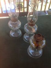 Eagle Oil Kerosene Burning Hurricane Glass Lamp Set Of Three