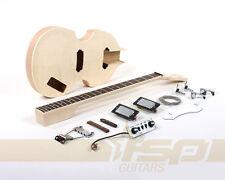 Semi-Hollow  Body DIY Electric Bass Guitar Builder Kit with Flamed Maple Veneer