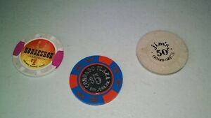 Lot of  vintage casino tokens or chips 1, 5 and .50 cents qty of 3