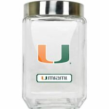 Miami Hurricanes Canister NCAA Glass Cookie Jar with Lid Large