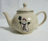 HOME & GARDEN PARTY Snowman Teapot 2000 by Home and Garden Stoneware Ltd USA!