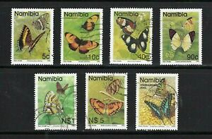 Namibia -- Butterflies -- 7 diff used from 1993-94