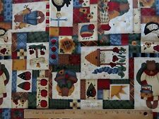 Cotton Sew Quilting Fabric Folk Art Patchwork Bees Bears, Rooster  3/4 yd.