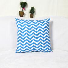 1x Composite Linen Pillow Cover Seat Scatter Cushion Case Blue Zigzag 42x42cm