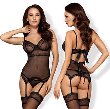 OBSESSIVE 817 Underwired Corset, Attached Garter Straps and Matching Thong Set