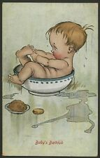 Baby Humour. Baby's Bathtub. Baby Washes Himself in a Cereal Bowl, Perhaps! 1912