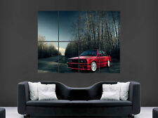 RED BMW CAR E30 POSTER CLASSIC WINTER ROAD TREES FOREST IMAGE FAST PRINT