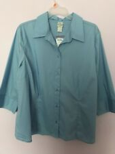 Ladies Size 26/28 Fashion Bug Blue 3/4 Sleeve Blouse Top Shirt NWT
