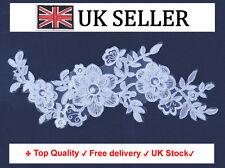 3D Floral white lace Applique floral bridal flower lace on tulle motif