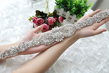 YU Dora Wedding Applique,Beaded Rhinestone pearl Applique, pearl rhinestone sash