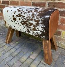 Brown & White Cowhide Pommel Bench - 70cm Long - Genuine Hair on Leather