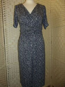 Ladies size M (aprox 10/12) blue and grey print Great Plains ruched top dress.