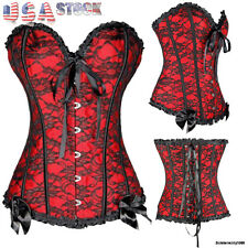 Black Punk Women Boned Waist Cincher Corset Overbust Laced Up Bustier Top Shaper