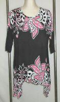 Avenue Tunic Top 14 16 14W 16W Boho Knit Pink Black Paisley Shark Bite Hem Shirt