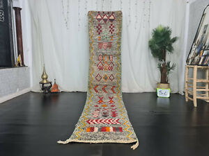 "Boujaad Handmade Moroccan Runner Rug 2'3""x11'2"" Dotted Gray Wool Berber Carpet"