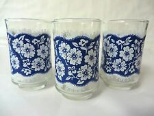 Libbey Juice Glass Blue Lace with White Flowers SET of THREE