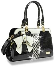 Back and White Julia and Michael Designer Bow and Rhinestone  Patent Handbag