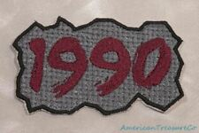 Embroidered Retro Vintage 90s Burgundy & Gray Grunge 1990 Year Patch Iron On USA