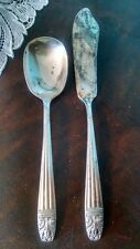 Sugar Spoon & Butter Spreader Knife Harmony House Silverplate Danish Queen 1944