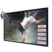 "60"" Portable Foldable Wall Projector Screen HD 16:9 Home Theater IN/Outdoor Q7J8"