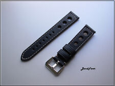 20mm Black Rally Racing 3 BIGHole Genuine Leather Watch Band,Strap Timex T2M552