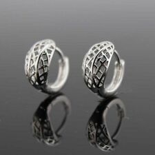 Luxury 18k White Gold Filled Charms Earrings 14mm Hoop Hollow GF Wedding Jewelry