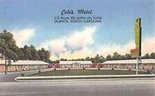 Olanta South Carolina Coles Motel Street View Linen Antique Postcard K15177