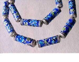 Flowers 2 Enameled Beads 20mm Tube Beads 10517