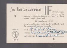 Telephone Message Board 1930 TMB Card R Paul King