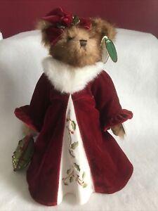 "The Bearington Collection Christmas Holly N Ivy 13"" Joint Plush Bear Musical"