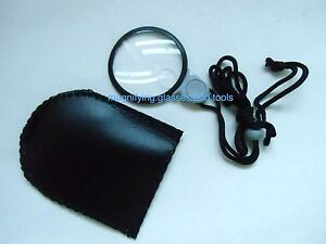 pocket necklace pendant magnifying glass 3X 6X magnifier pouch NEW