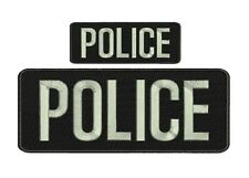 """POLICE embroidery patches  4x10 and 2x5""""  hook on back Lg Gray Letters"""