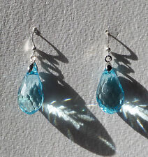 FACETED TURQUOISE ACRYLIC CRYSTAL BRIOLETTE TEARDROP SILVER PLATED DROP EARRINGS