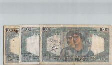 FRANCS LOT DE TROIS 1000 FRANCS 6.12.1945 / 2.12.1948 / 15.12.1949 PICK 130a/b