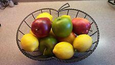LARGE METAL WIRE APPLE SHAPED FRUIT VEGETABLE TABLE TOP BASKET ON PEDESTAL