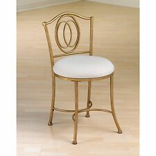 Dressing Room Vanity Stool Padded Chair Cushion Gold Bronze Metal Frame Seat New