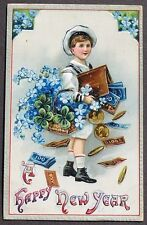 Sailor Boy Spills Money Coins Dollars Wallet Forget Me Not New Year pc 1909
