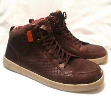 CLAE Russell Mens Embossed Leather Up Shoes Skate Hi-Top, Size 10.5 Brown