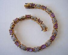 Gold Silver Plated Purple Gemstones Tennis Bracelet Infinity Link Amethyst? Cute