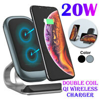 20W Qi Wireless Charger Stand Fast Charging Dock For iPhone8/X/11/12 For Samsung