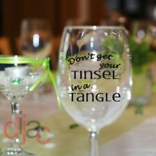 VINYL DECALS STICKERS FOR WINE GLASS TUMBLER CHRISTMAS TINSEL IN A TANGLE
