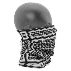 ZANheadgear Fleece Lined Motley Tube, Houndstooth, Black & White