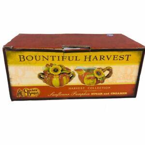 Vintage Bountiful Harvest Cracker Barrel Sunflower Pumpkin Sugar Creamer In Box