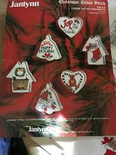 Janlynn Christmas Cross Stitch Cookie Cutter Ornaments Partially Complete 1988
