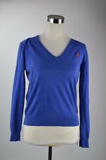 POLO By Ralph Lauren V Neck 100% Pima Cotton Long Sleeve Blue Sweater Top S