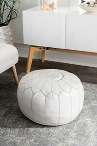 Moroccan Pouf Ottoman White - Handmade Hand Embroidered - Free Ship (Unstuffed)