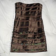 BCBG Max Azria Brown Bodycon Bandage Peacock Feather Strapless Cocktail Dress 10