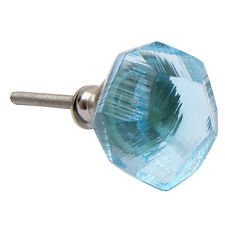 Bombay Duck Aqua Blue Gem Jewel Cut Glass Drawer Cupboard Door Knob 3.5cm dia
