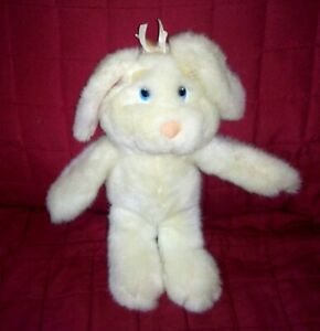 Applause BASHFUL NELLY White Bunny Rabbit 10in Plush 1988 Pink Ears Brows Nose